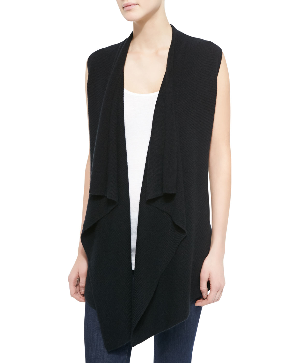 Vince Long Draped Sweater Vest in Black | Lyst