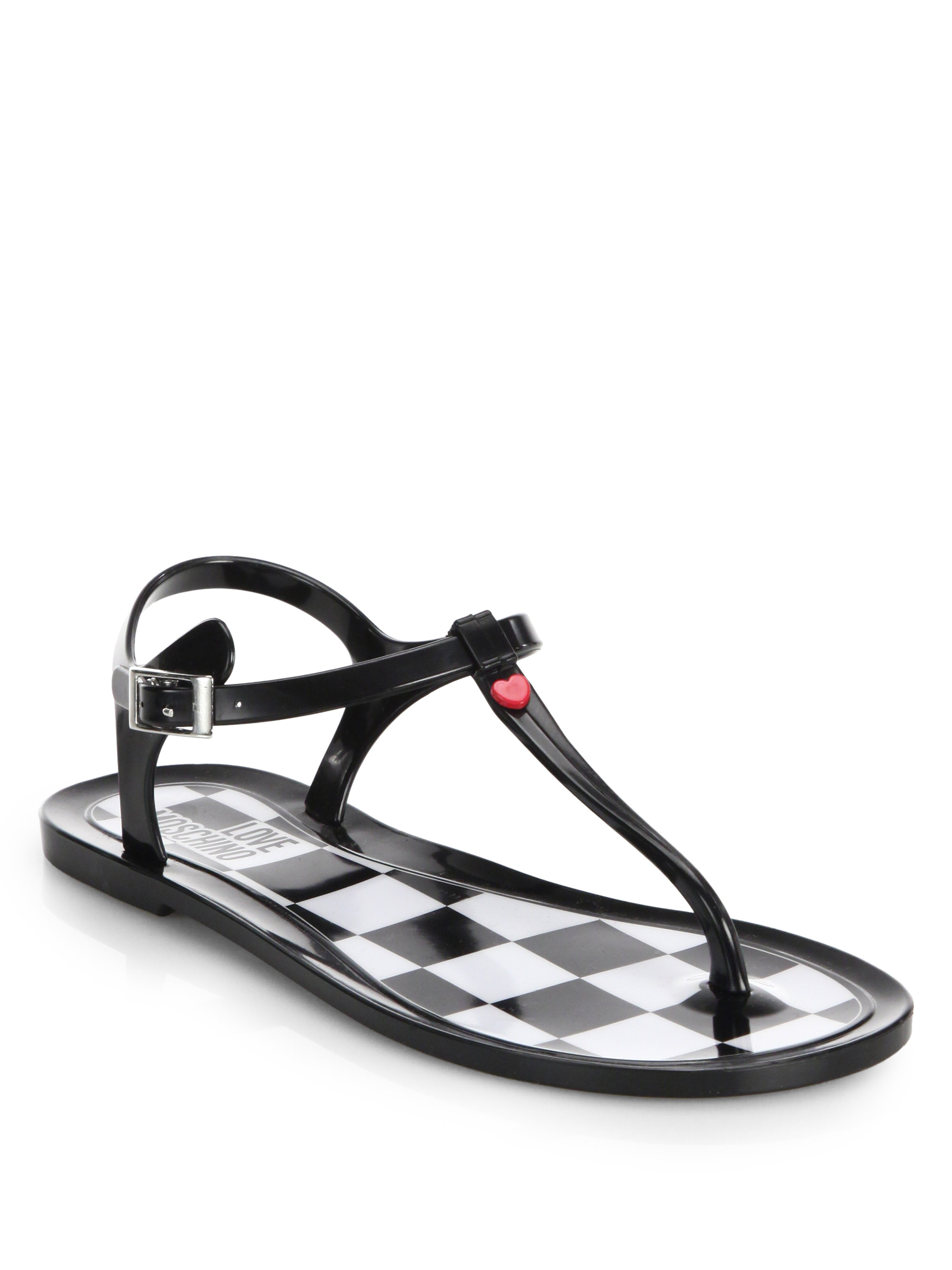 72e39b335eda Lyst - Love Moschino Jelly Thong Sandals in Black