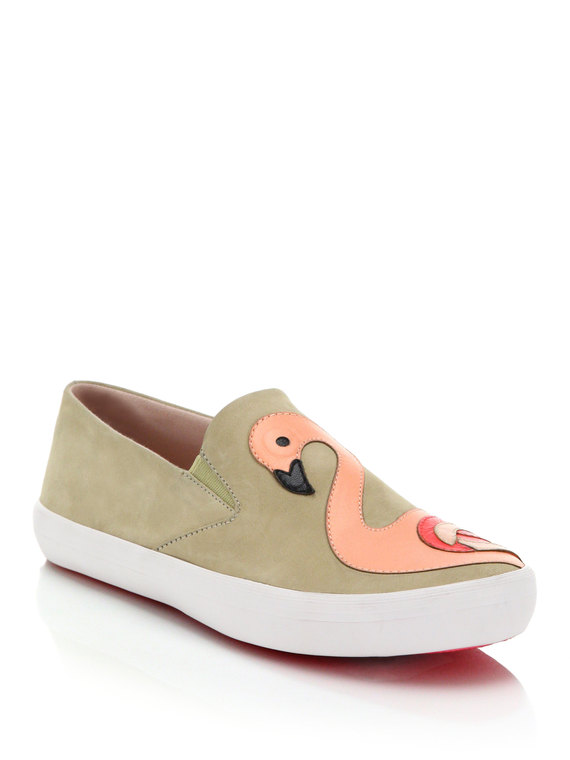 c00c33be9426 Lyst - Kate Spade Selma Flamingo-paneled Leather Slip-on Sneakers in ...