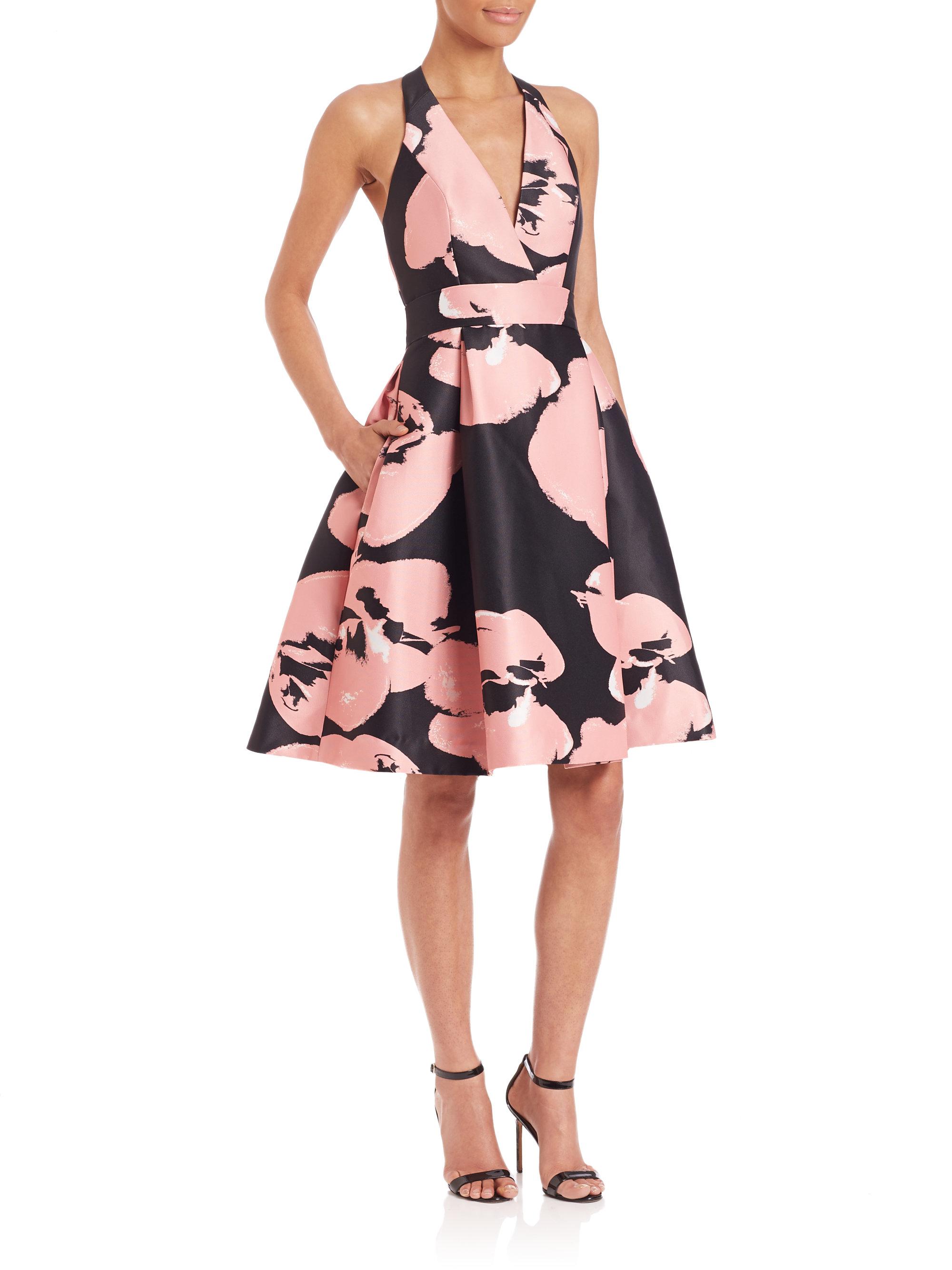 Lyst Halston Abstract Orchid Print Halter Dress