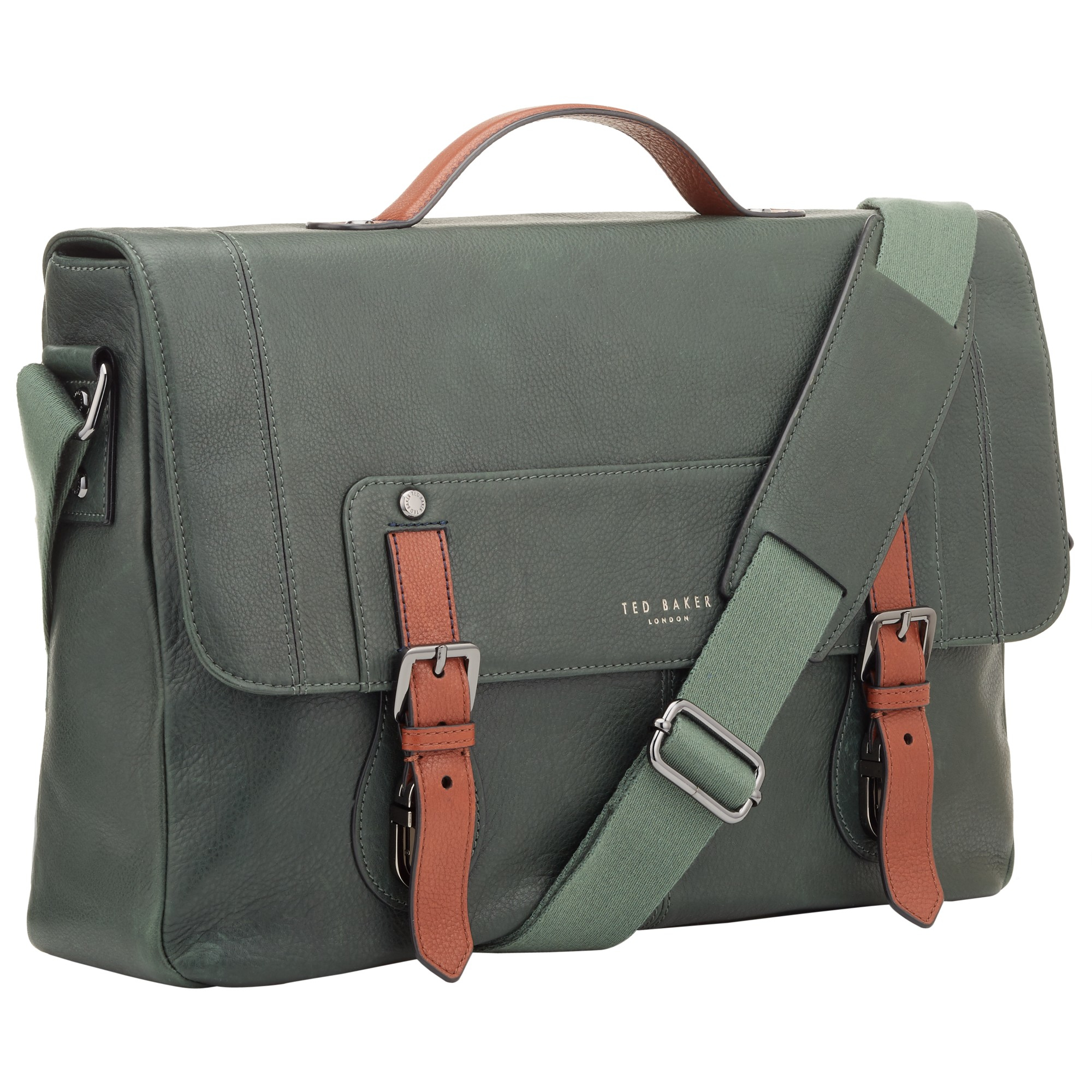 9ceb12eca5bc Ted Baker Boombag Leather Messenger Bag in Green for Men - Lyst