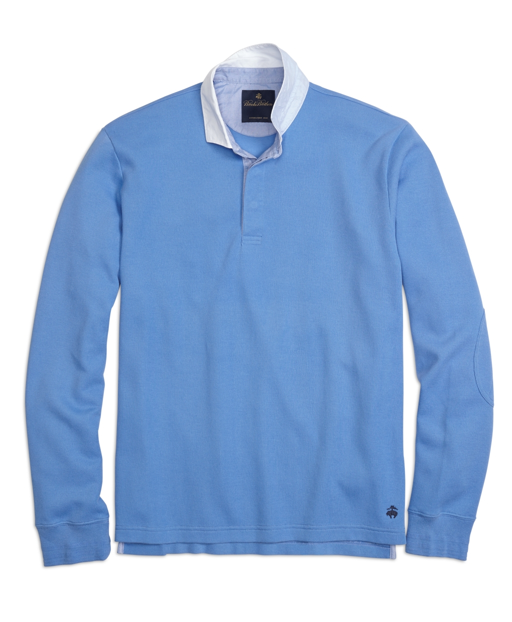 Brooks brothers contrast collar rugby shirt in blue for for Brooks brothers boys shirts