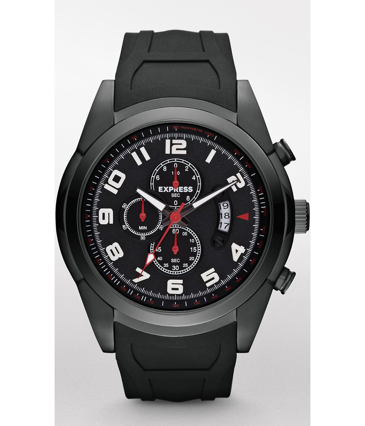 express chronograph silicone black in black
