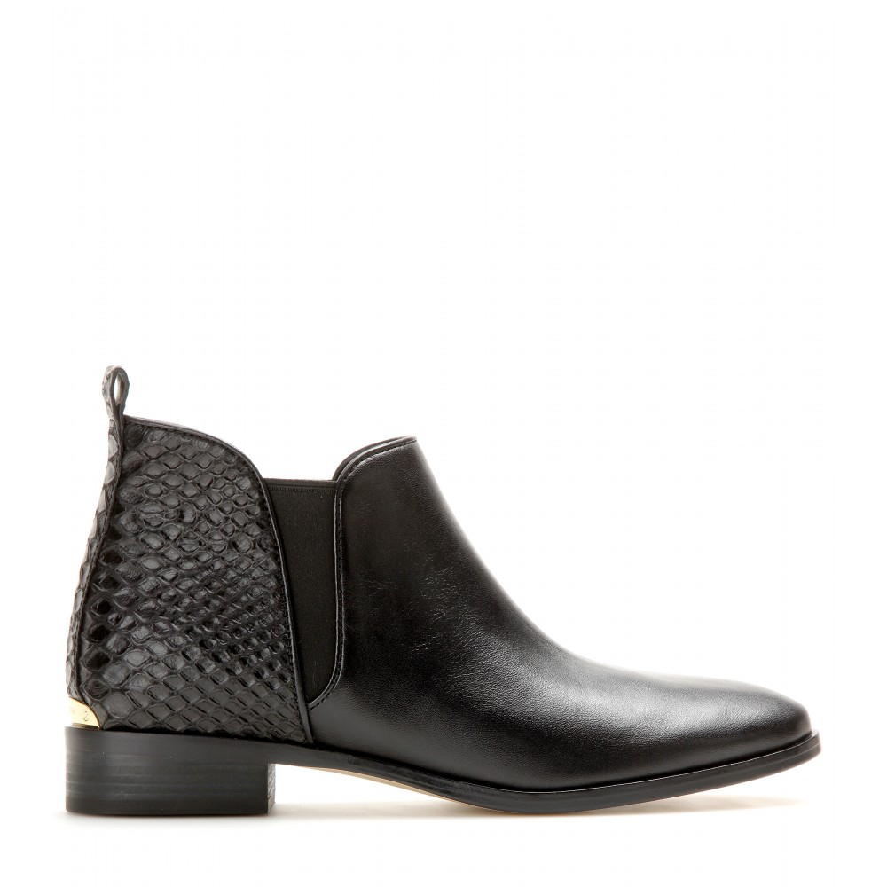 michael michael kors leather ankle boots in black
