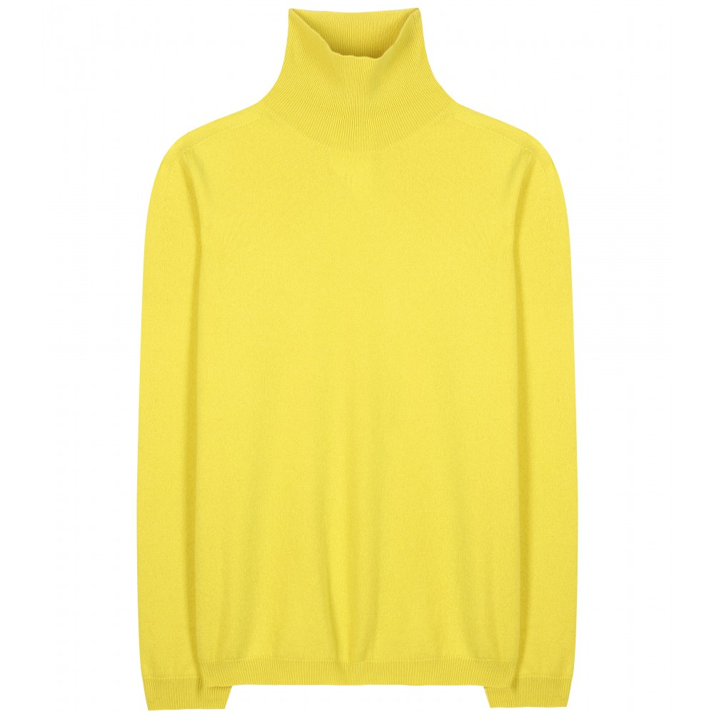 Jil sander Cashmere Turtleneck Sweater in Yellow | Lyst