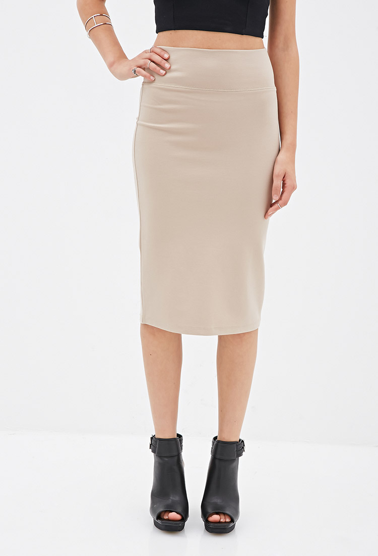forever 21 stretch knit pencil skirt in brown lyst