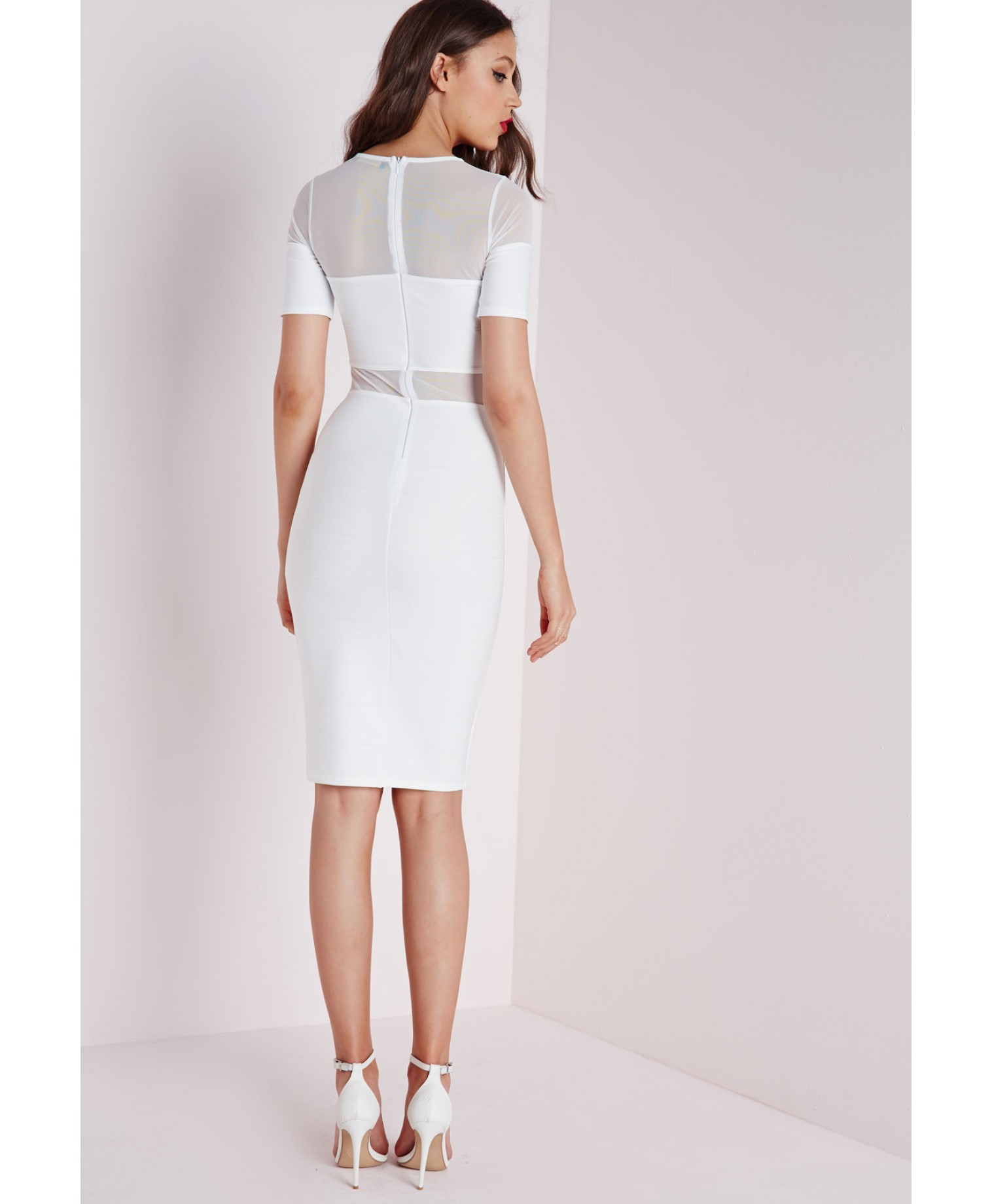 f36df850cafe Lyst - Missguided Bandage Short Sleeve Mesh Insert Midi Dress in White