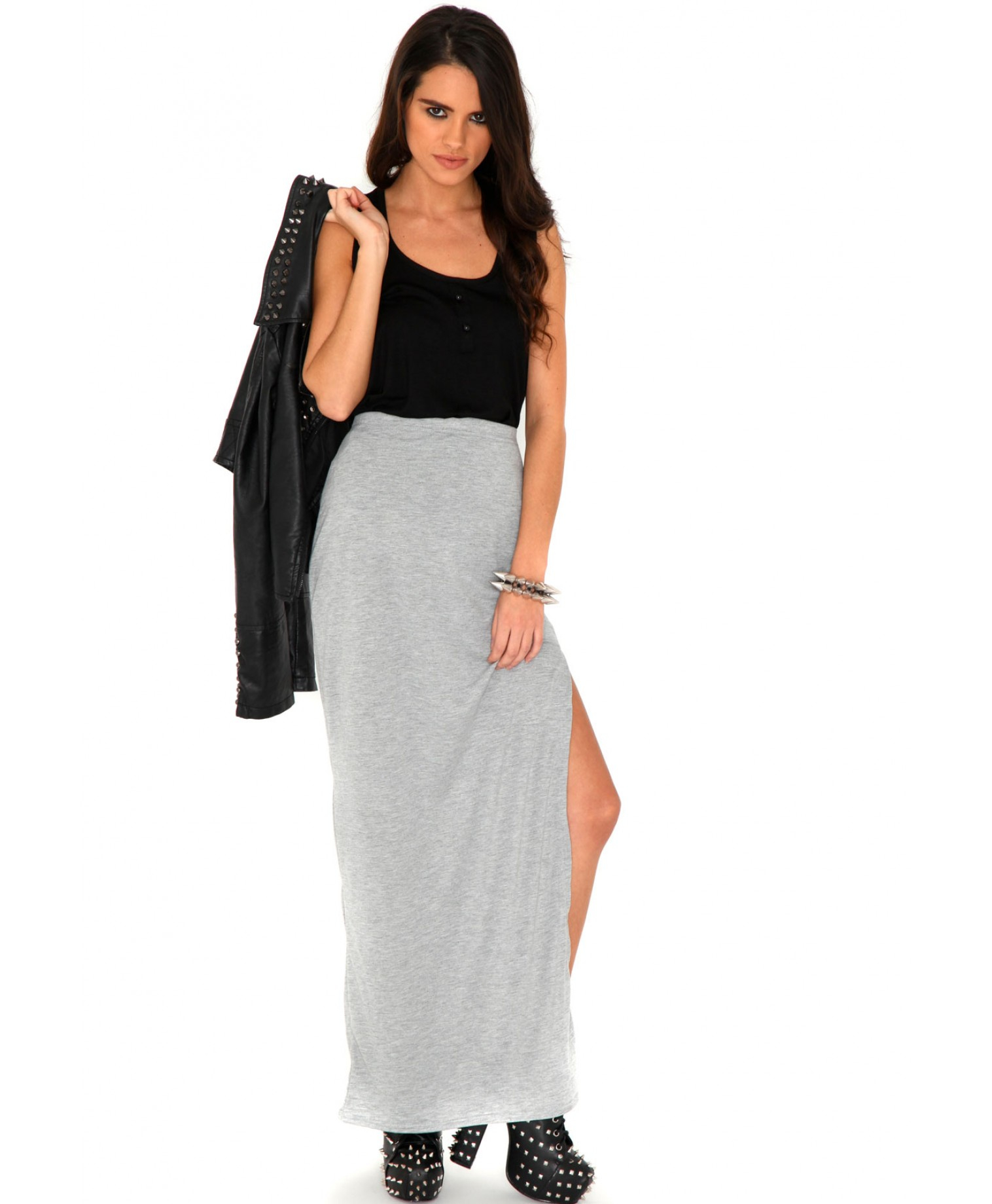 Missguided Jenna Value Split Maxi Skirt In Light Grey in Gray | Lyst