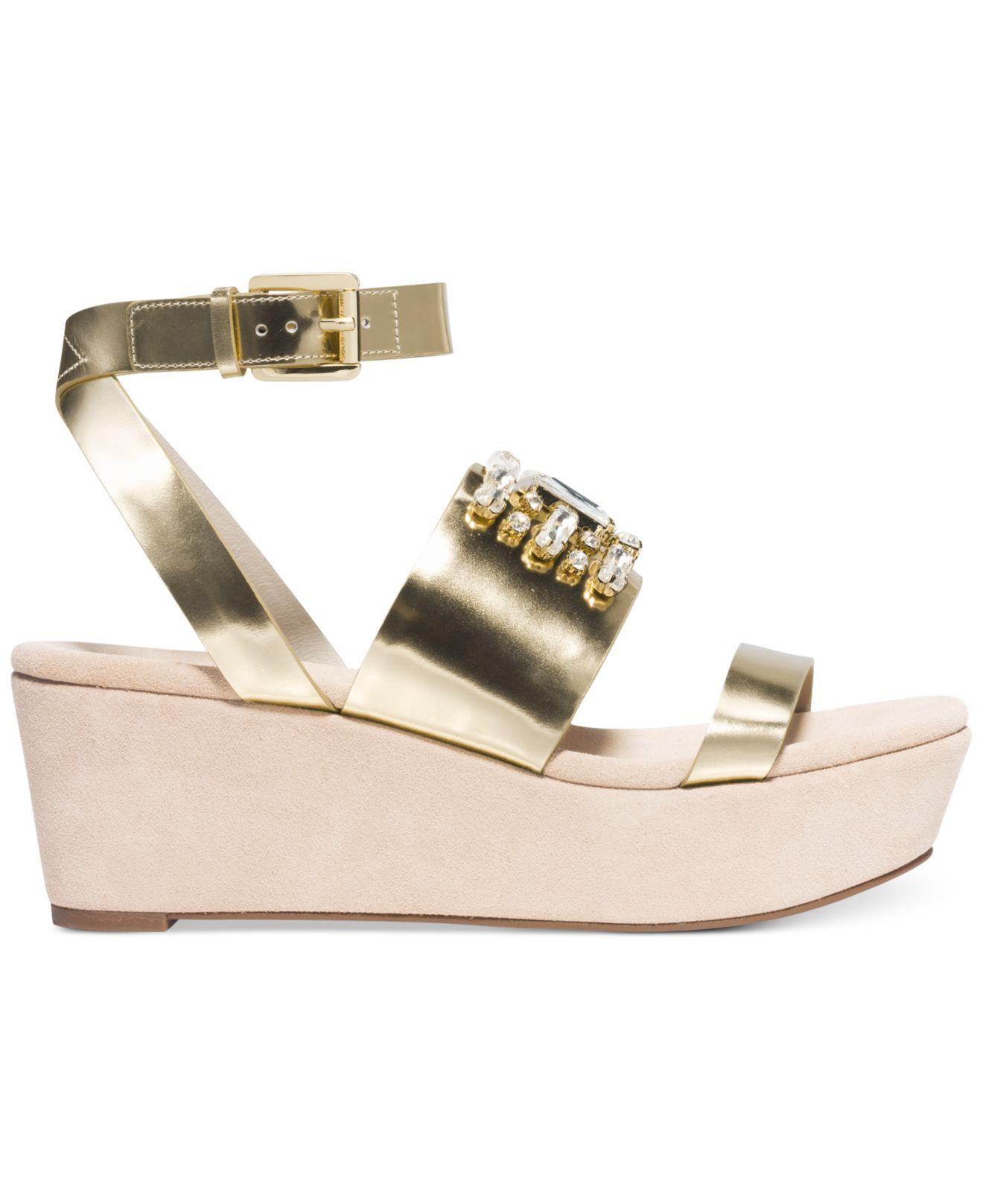 Lyst Michael Kors Michael Luna Platform Wedge Sandals In