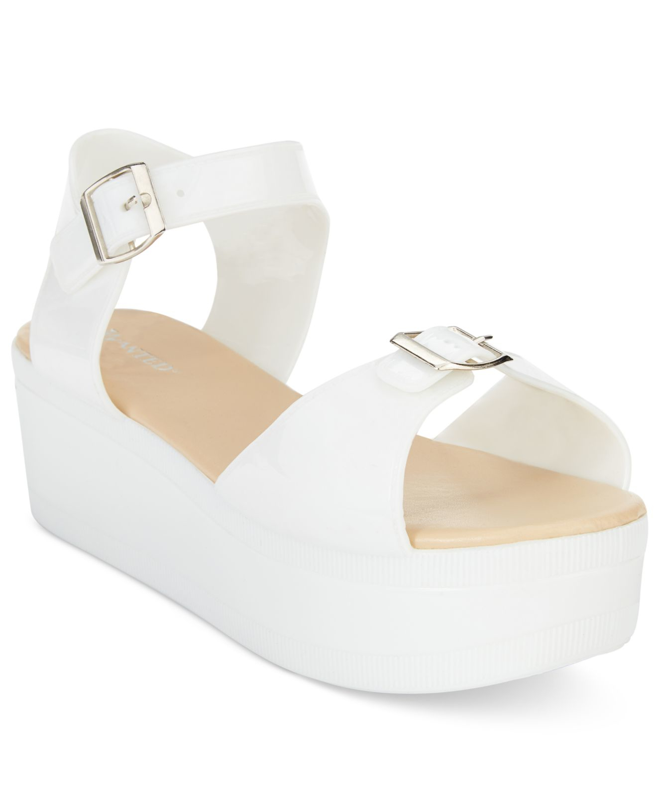 4a6bf25f3c0 Lyst - Wanted Gumdrop Flatform Jelly Sandals in White