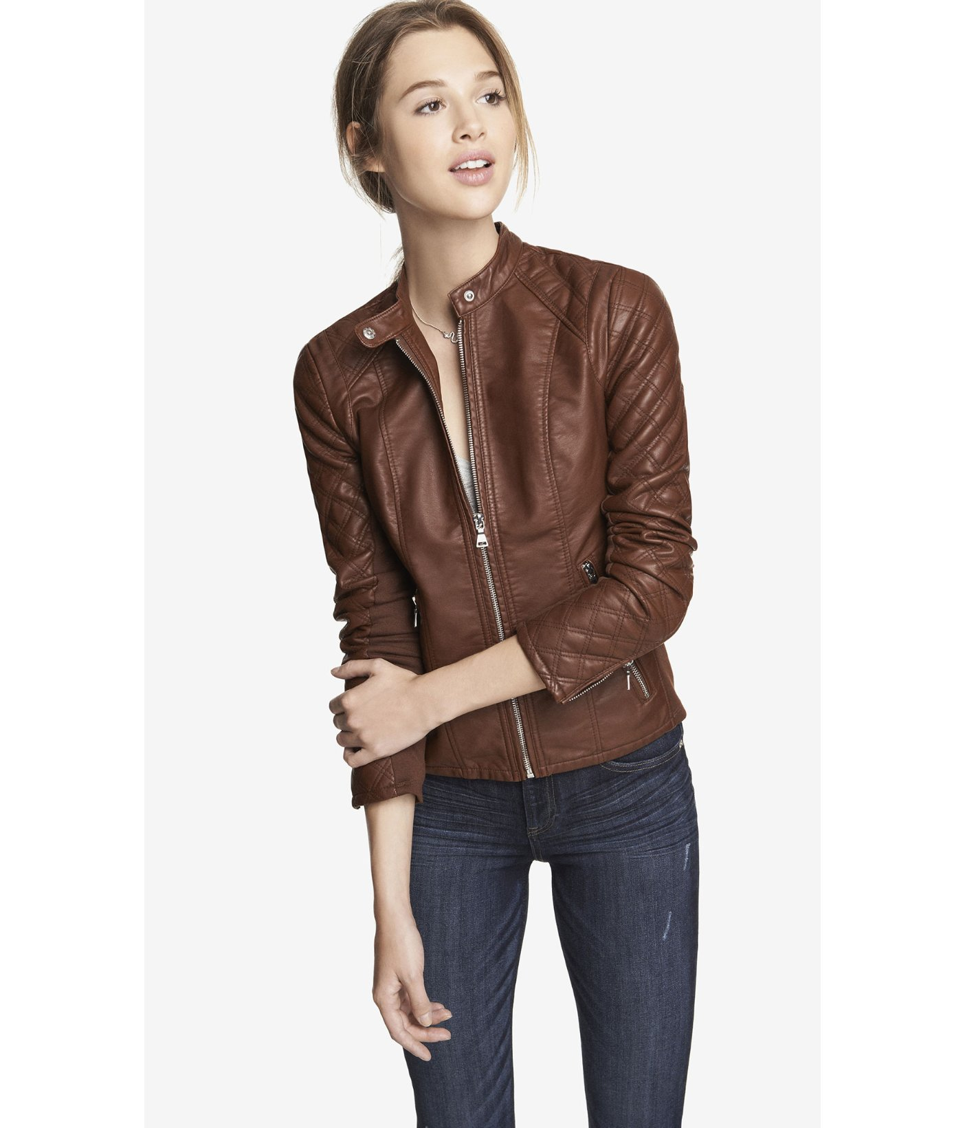 Lyst Express Minus The Leather Quilted Sleeve Jacket