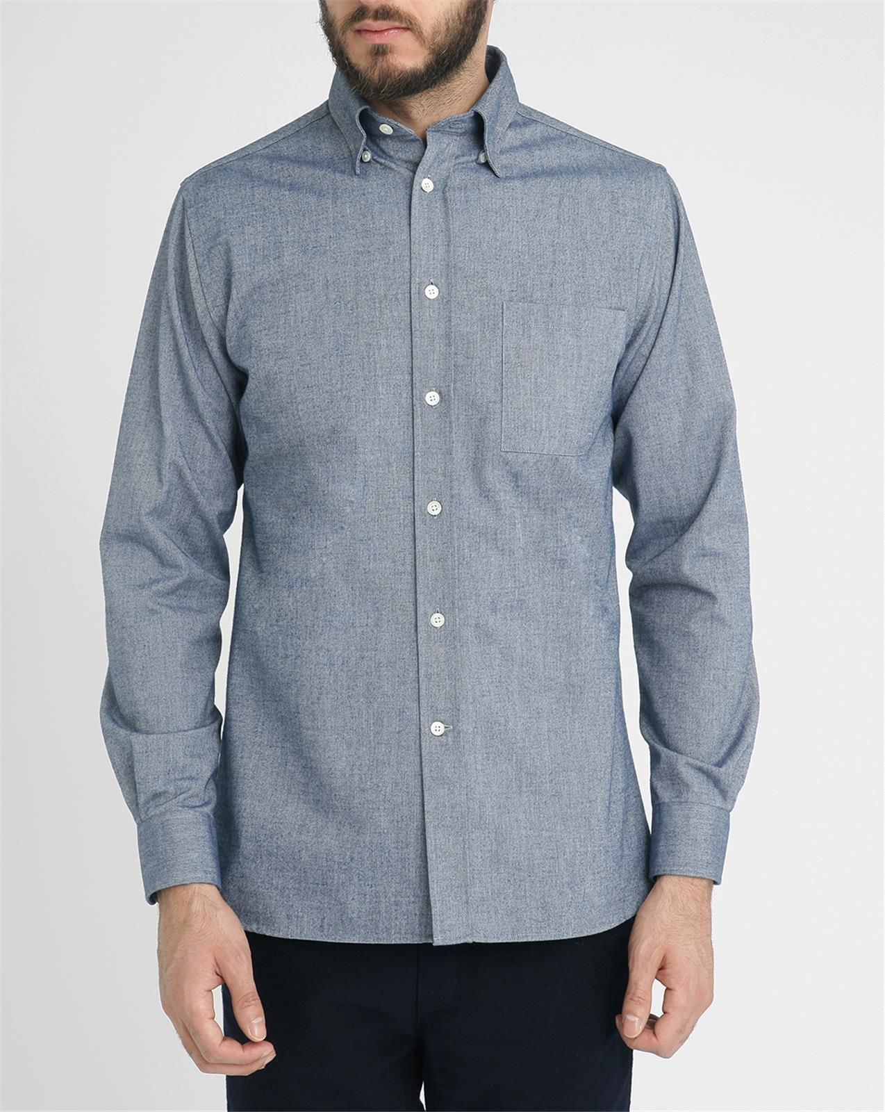 Commune de paris 1871 blue eudes hidden button collar for Hidden button down collar shirts