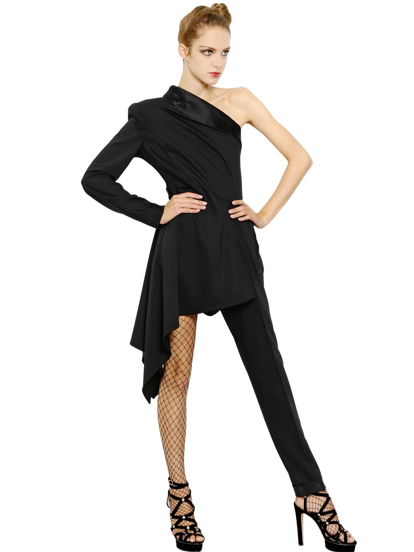 Lyst Jean Paul Gaultier Stretch Wool Tuxedo Dress In Black