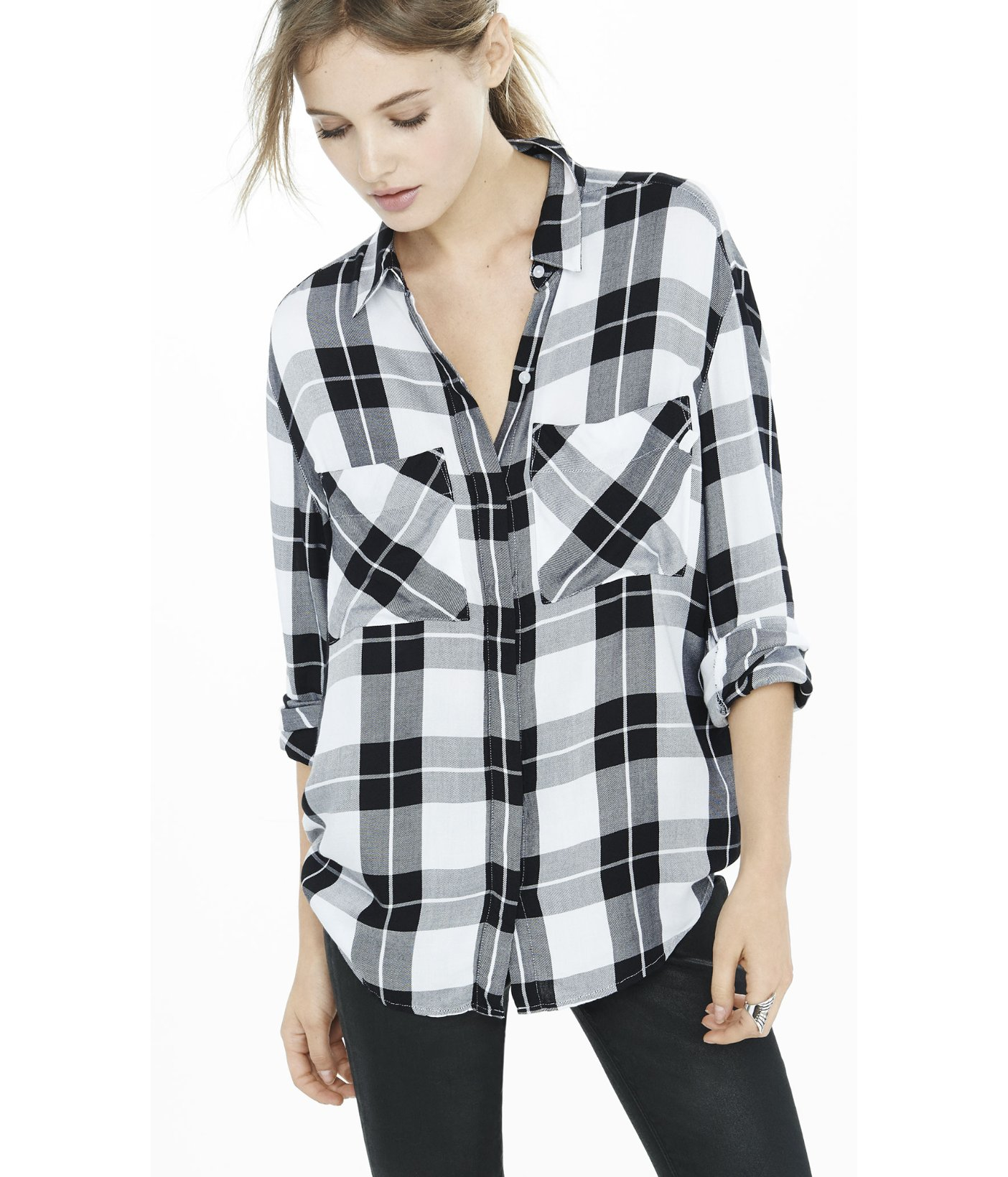 Lyst express black and white oversized plaid shirt for Black and white checker shirt