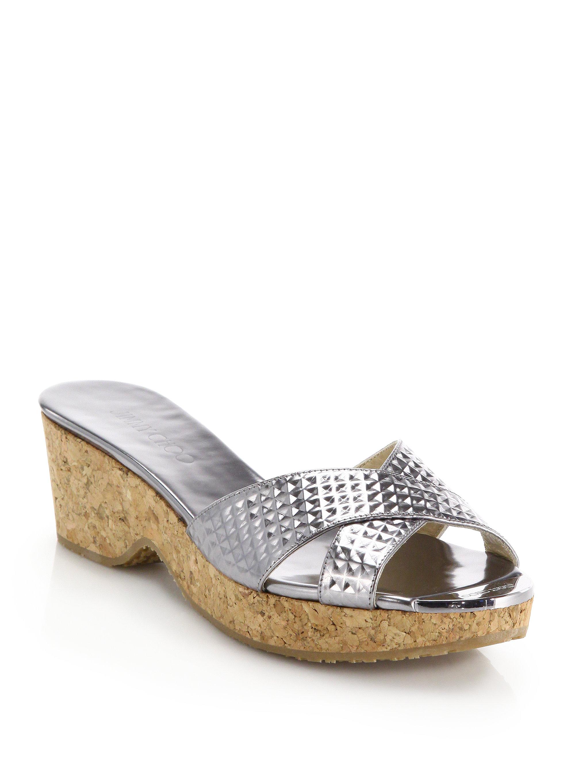 19687df214657 Lyst - Jimmy Choo Panna Textured Metallic Leather   Cork Sandals in ...