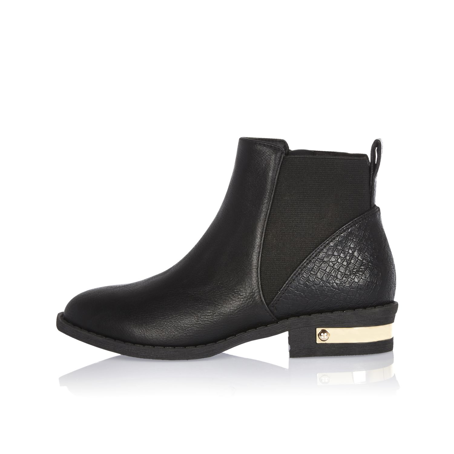 River island Girls Black Chelsea Boots in Black | Lyst