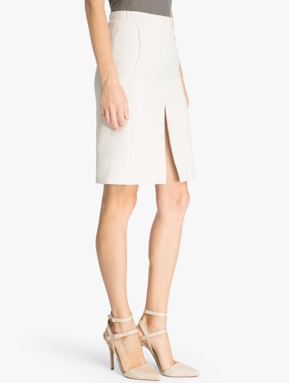 gabardine pencil skirt in white lyst