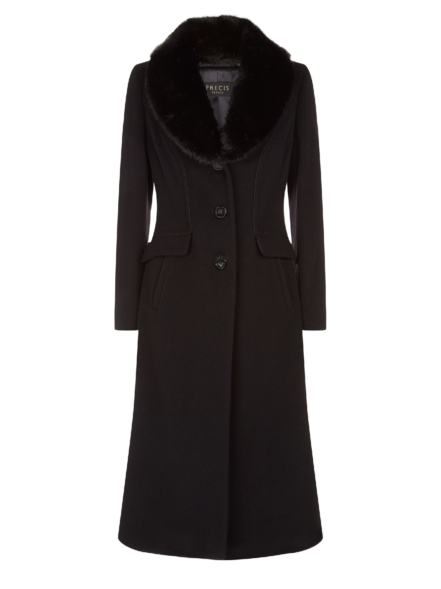 Precis petite Fur Collar Wool Coat in Black | Lyst