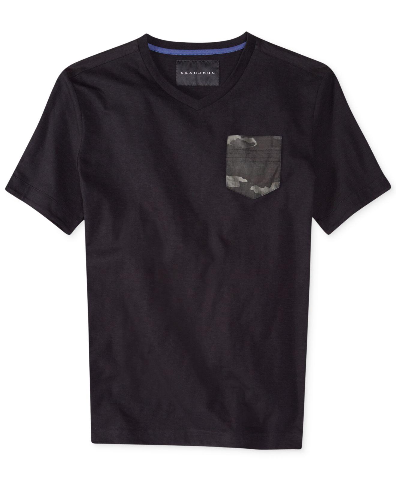 Sean john the capsule v neck t shirt in black for men lyst for Sean john t shirts for mens
