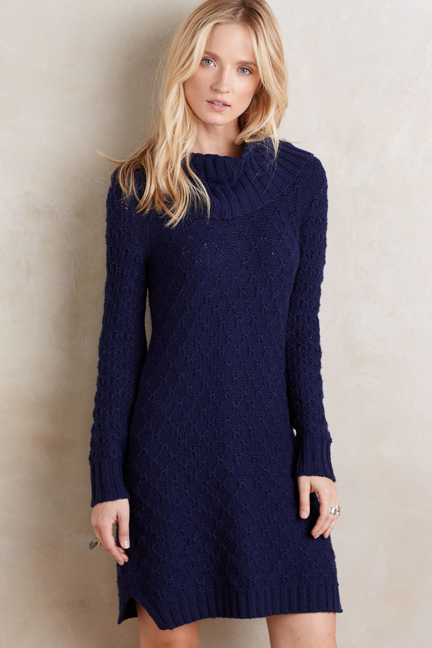 Sparrow Cowled Sweater Dress in Blue | Lyst