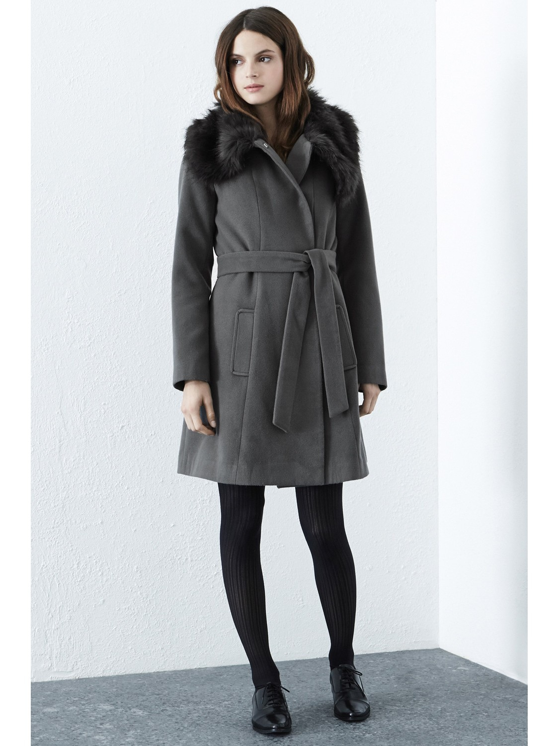 Warehouse Grey Belted Faux Fur Coat - Tradingbasis