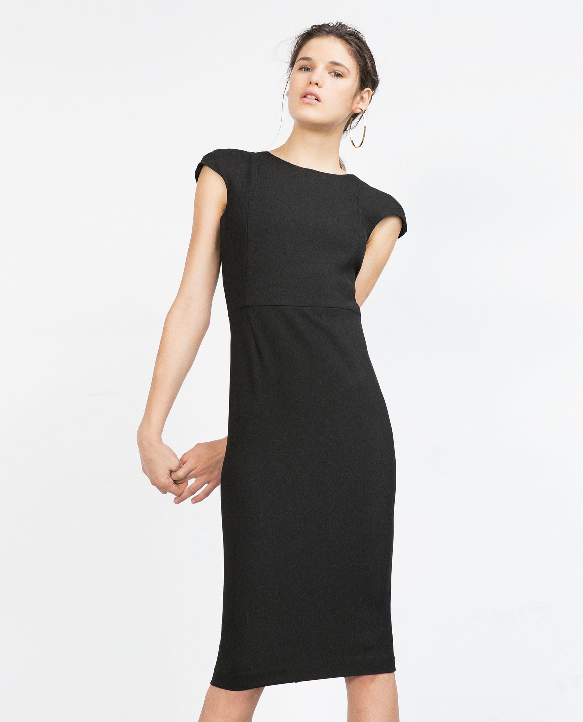 Zara Zip-back Tube Dress in Black   Lyst - photo#20