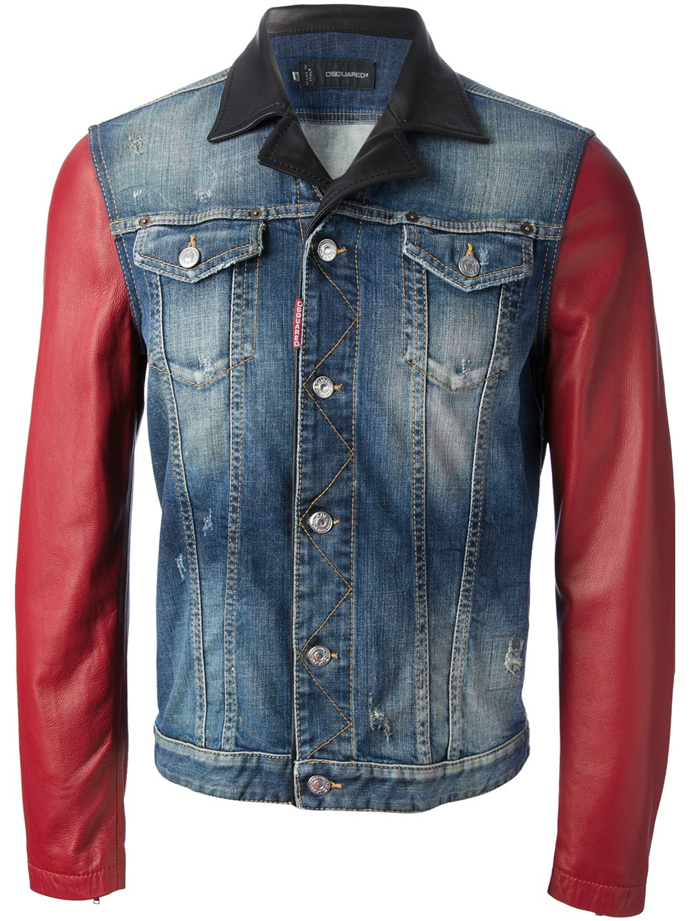 Lyst - DSquared² Contrast Sleeve Denim Jacket in Blue for Men 9c213a2bbfb3