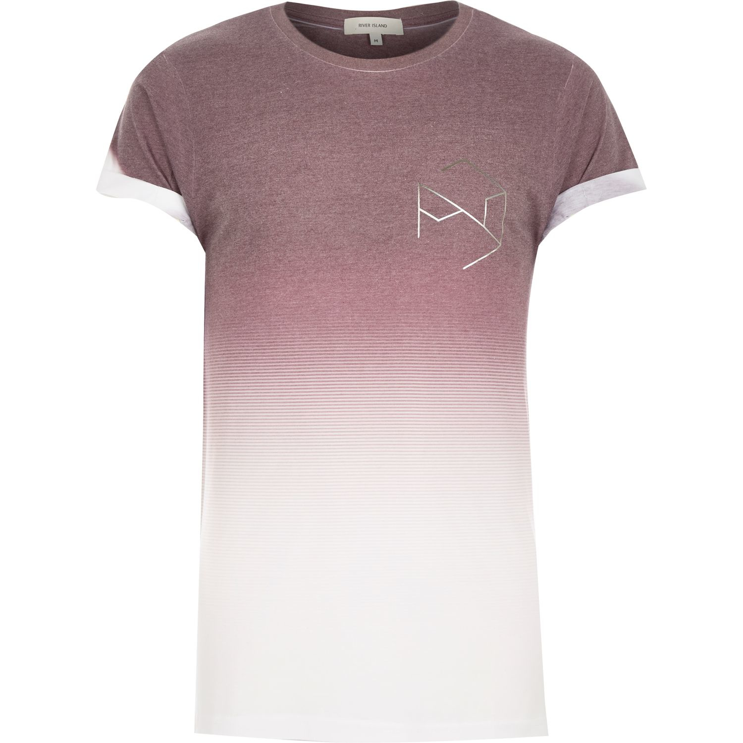 River island red faded hexagon print t shirt in pink for for Faded color t shirts