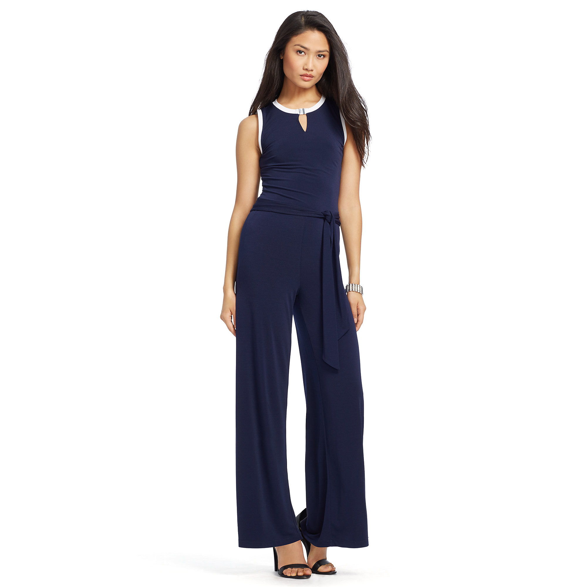 564c75329f8b Lyst - Ralph Lauren Belted Wide-leg Jumpsuit in Blue