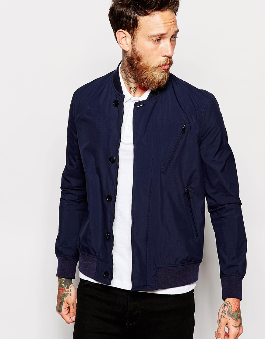 Blue Bomber Jacket - Coat Nj