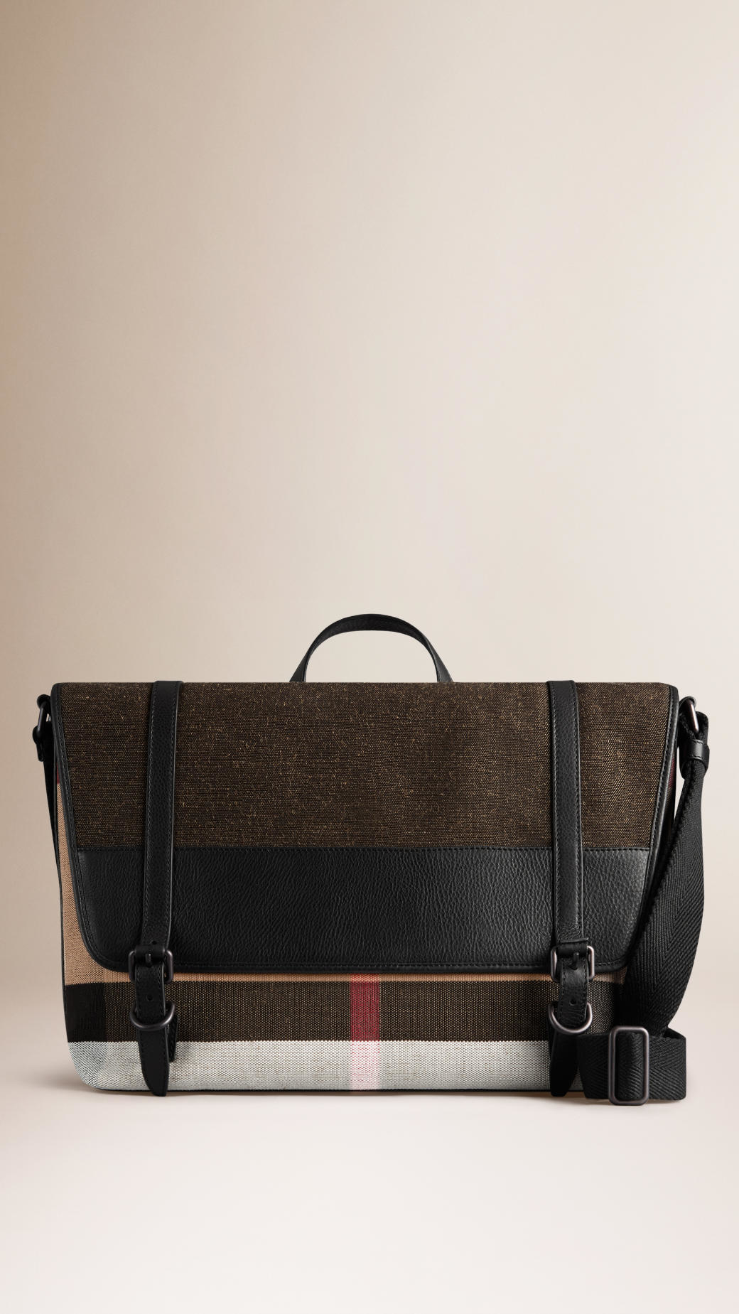 b5c597549ba2 Lyst - Burberry Canvas Check Messenger Bag in Black for Men