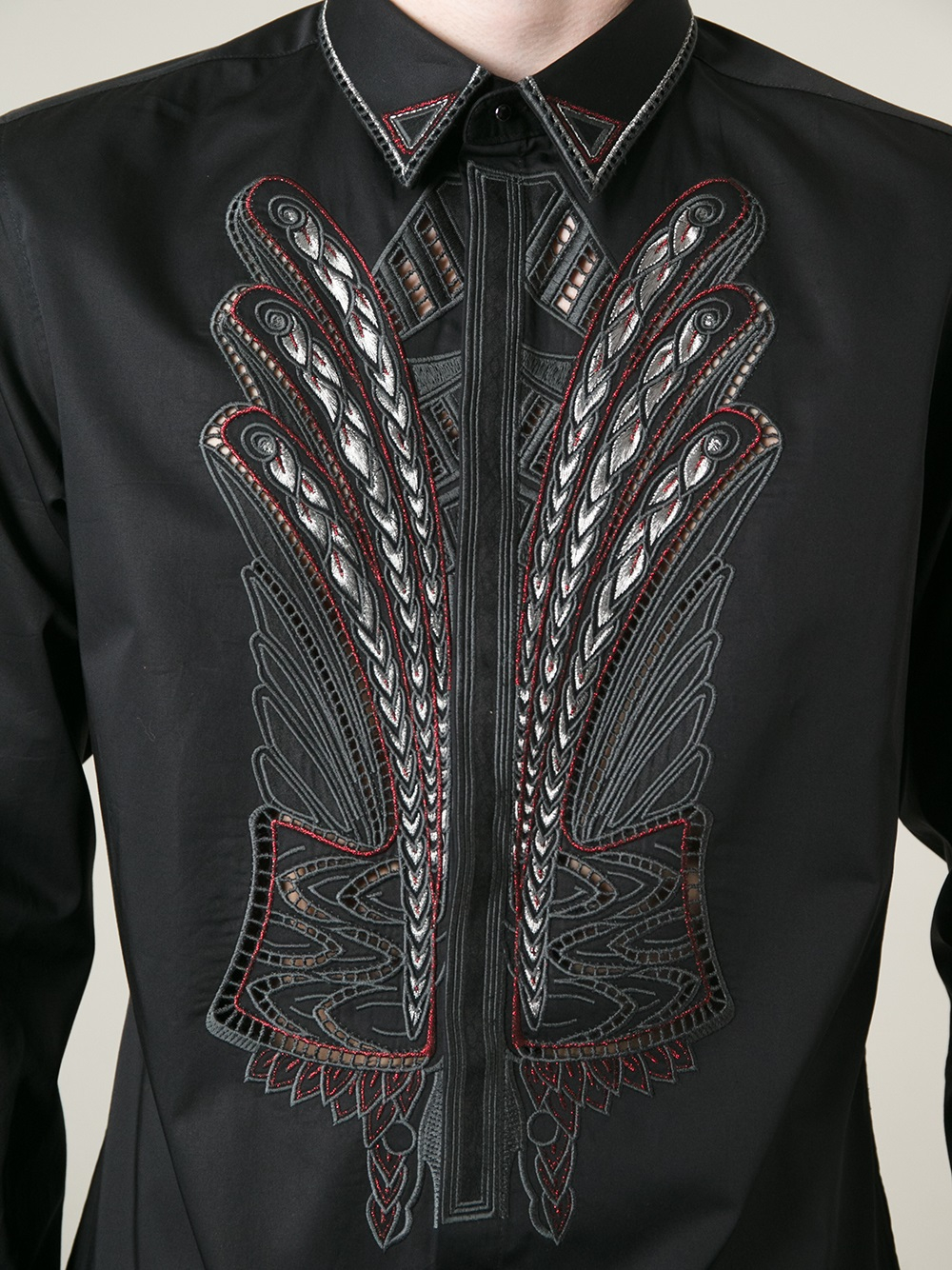 Lyst Roberto Cavalli Piped Pattern Shirt In Black For Men