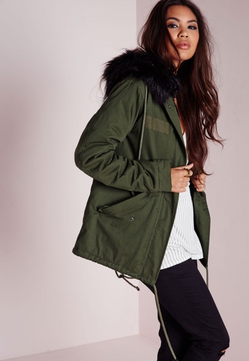 Missguided Faux Fur Hood Short Parka Coat Khaki/black in Natural ...