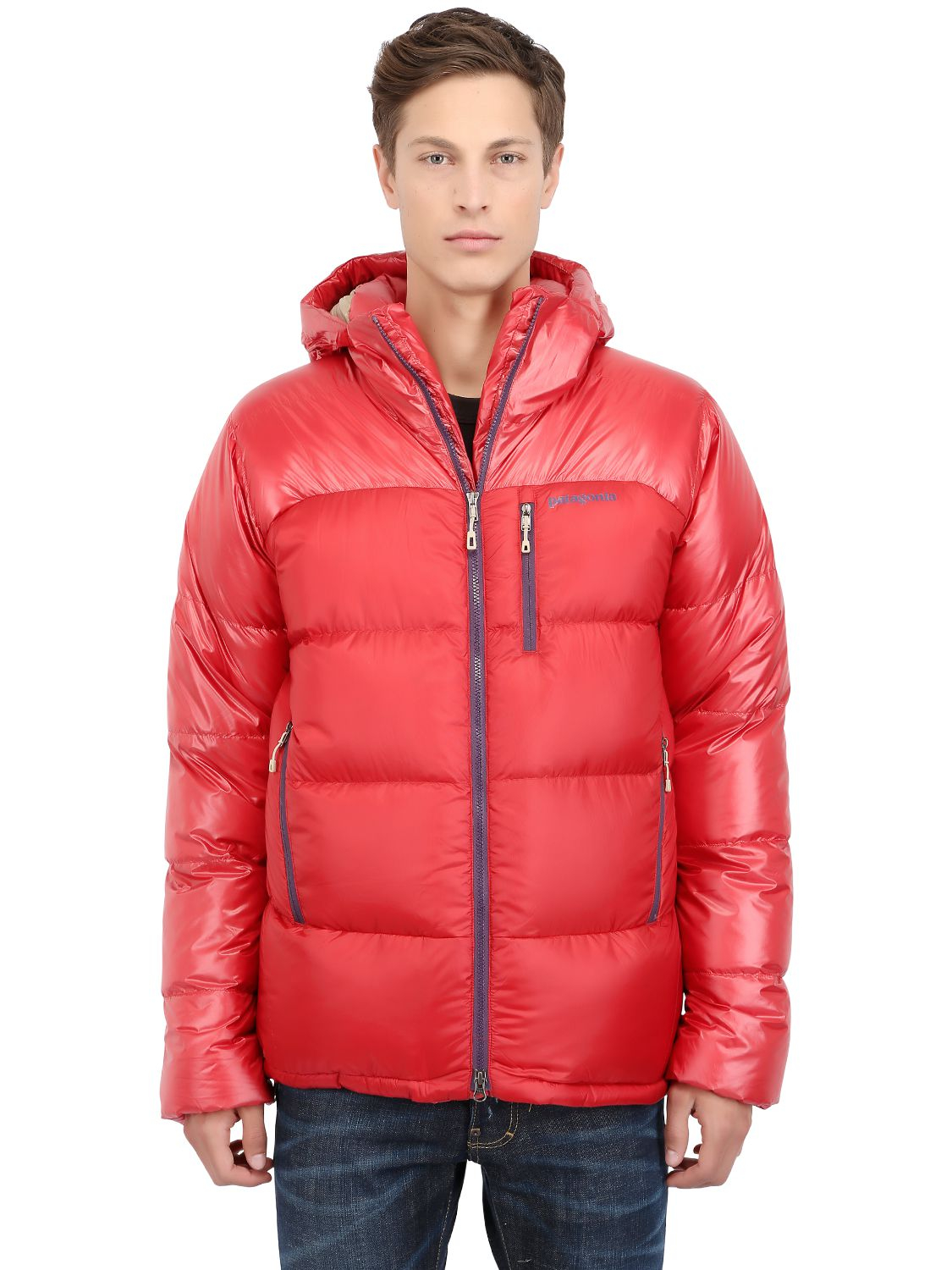 Lyst patagonia fitz roy down jacket in red for men for Patagonia men s recycled down shirt jacket