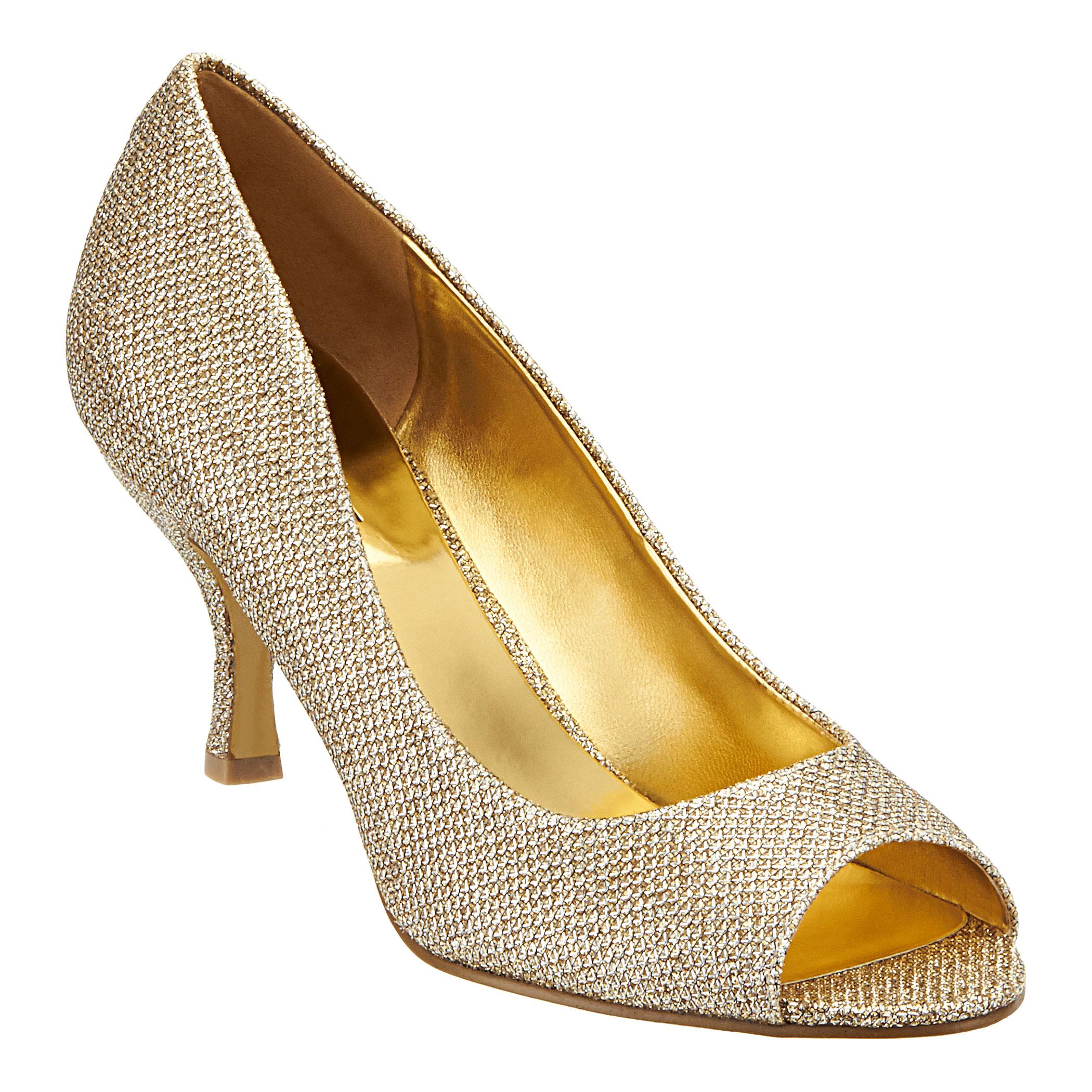 Gold Peep Toe Mid Heel Shoes