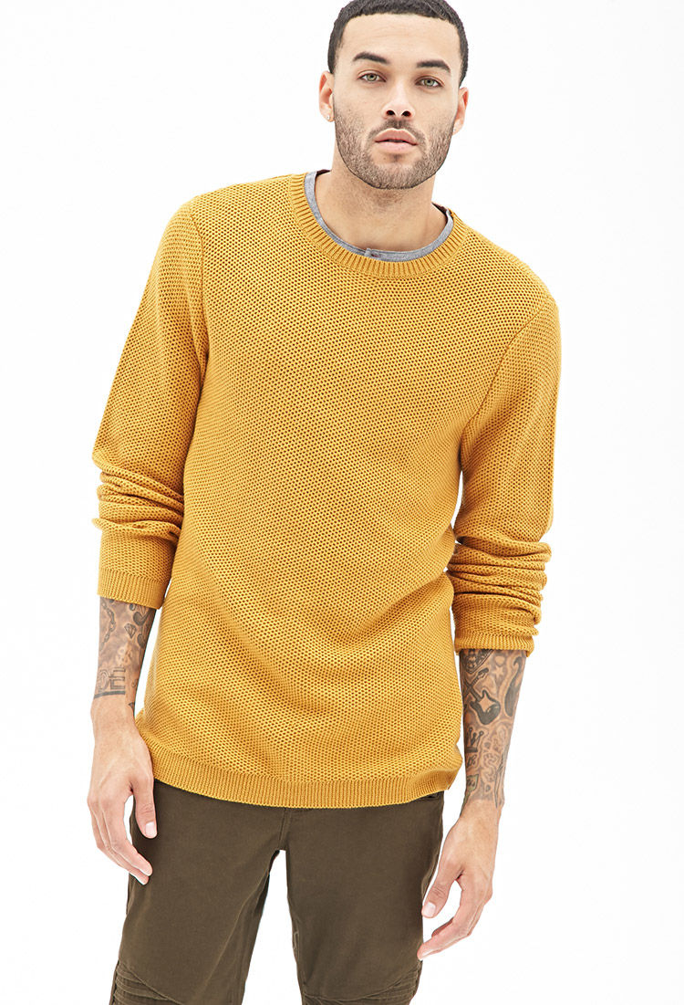 Lyst Forever 21 Waffle Knit Sweater In Yellow For Men