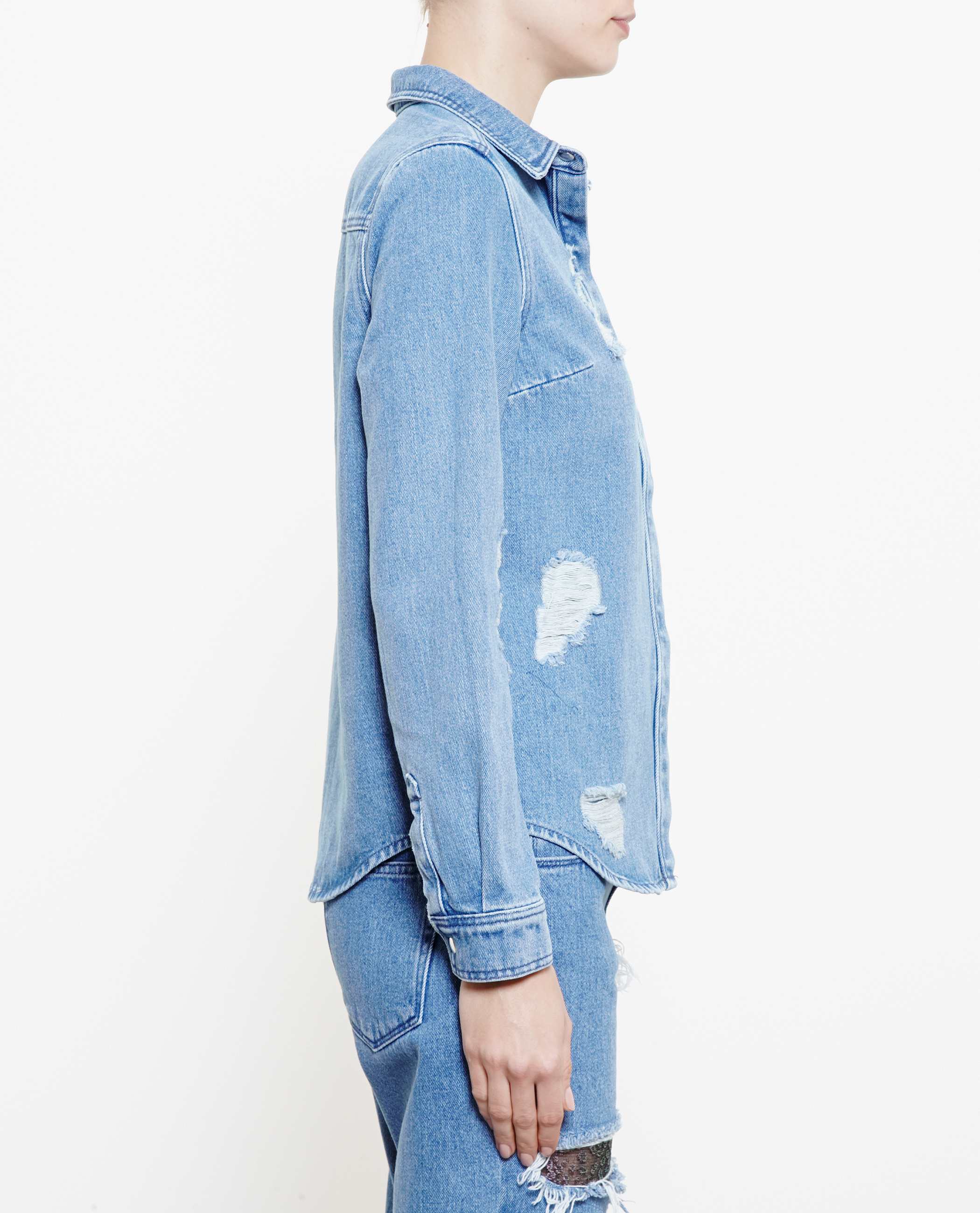 House Of Holland Distressed Denim Shirt With Lace Embroidery In Blue Lyst