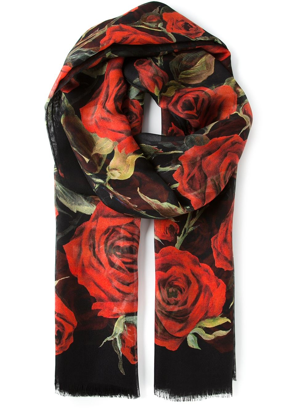Lyst Dolce Amp Gabbana Roses Print Scarf In Red