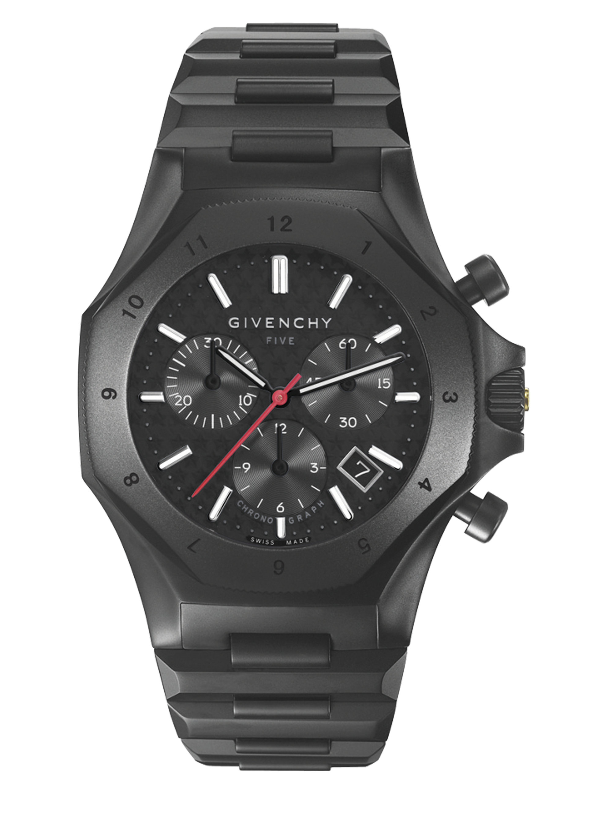Lyst givenchy five stainless steel chronograph watch in black for men for Givenchy watches