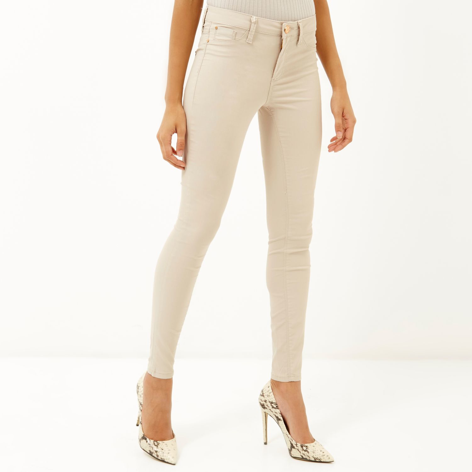 Womens White Molly mid rise diamante jeans River Island fcO2S