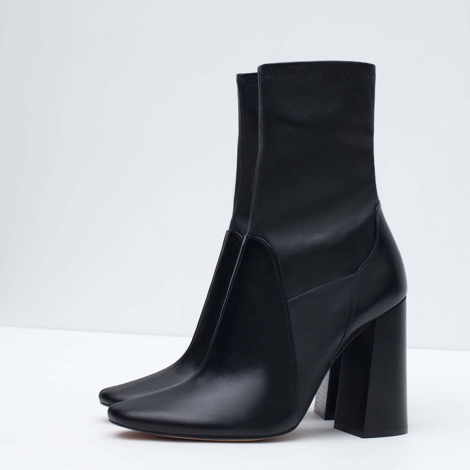 zara leather high heel ankle boots in black lyst
