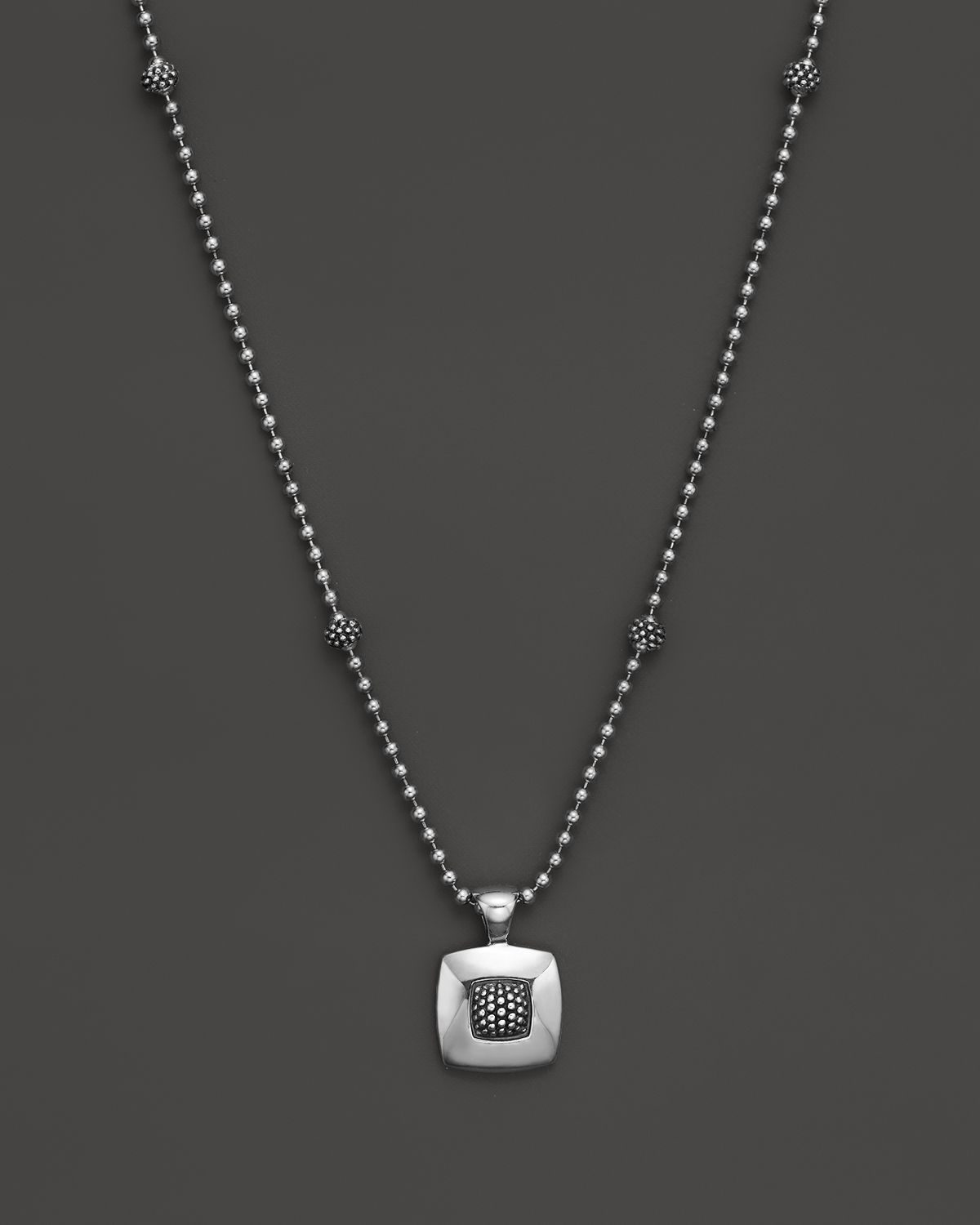 Lyst lagos sterling silver imagine square pendant necklace 16 in gallery aloadofball Choice Image
