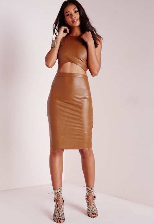 Missguided Faux Leather Midi Skirt Tan in Brown   Lyst