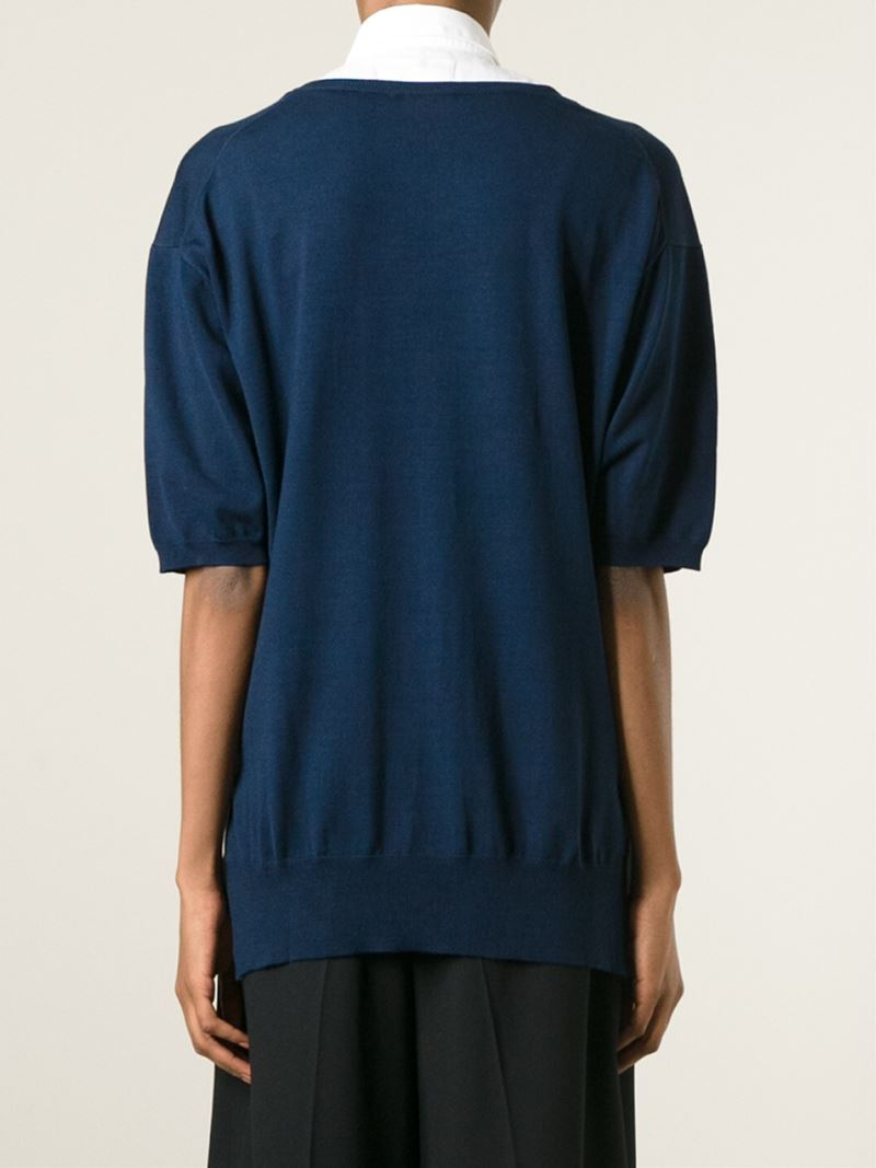 P.a.r.o.s.h. Short Sleeve Cardigan in Blue | Lyst