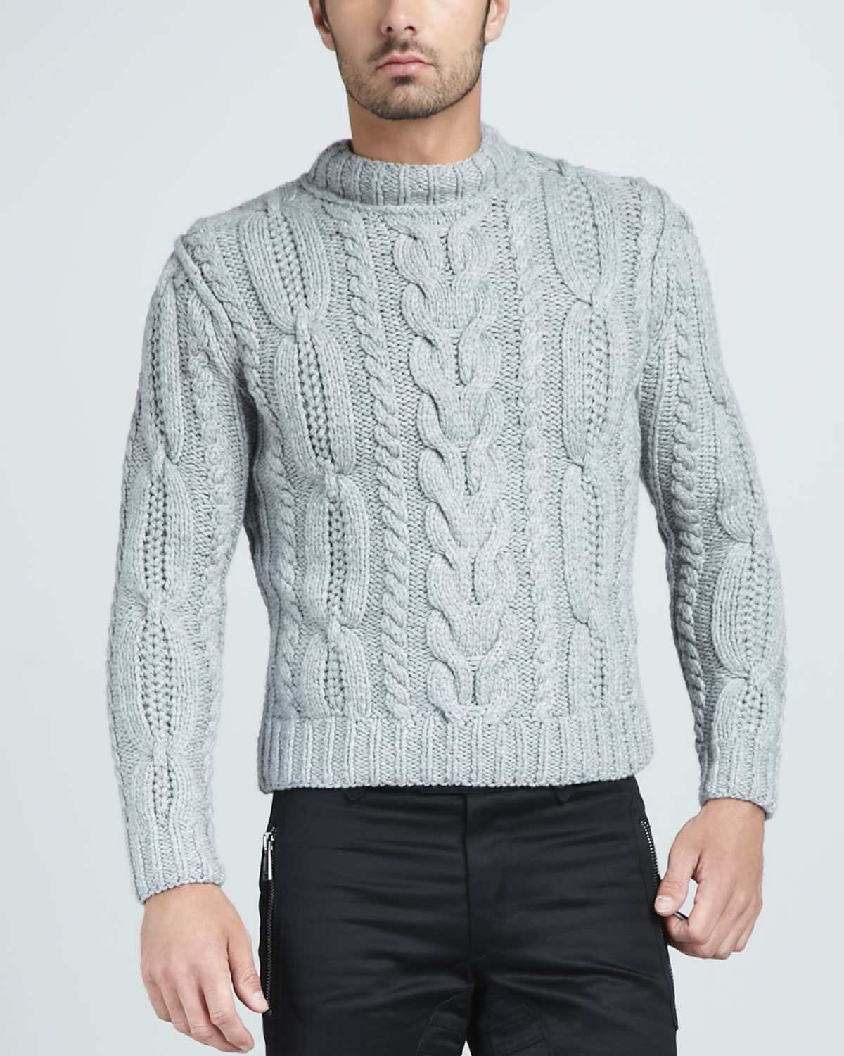 Belstaff Hand-knit Cable Sweater in Gray for Men | Lyst