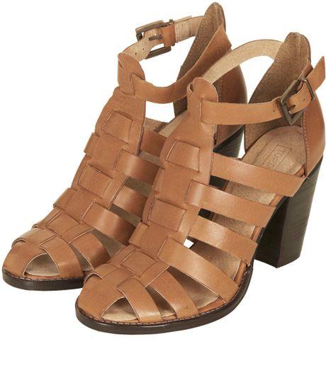 Topshop Gerrie Block Heel Gladiator Sandals In Brown Tan
