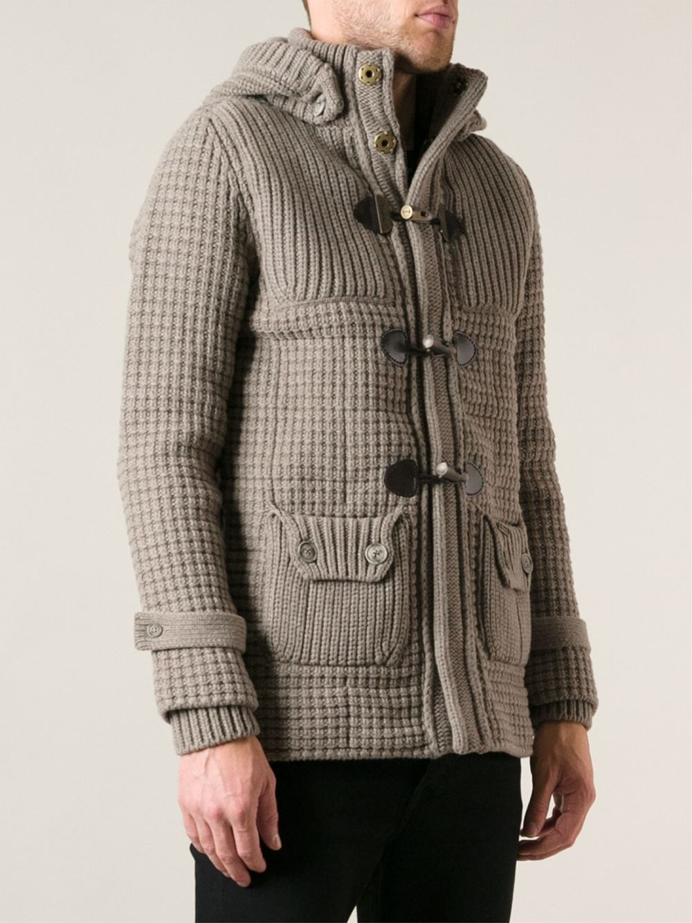 Bark Knitted Duffle Coat in Brown for Men | Lyst