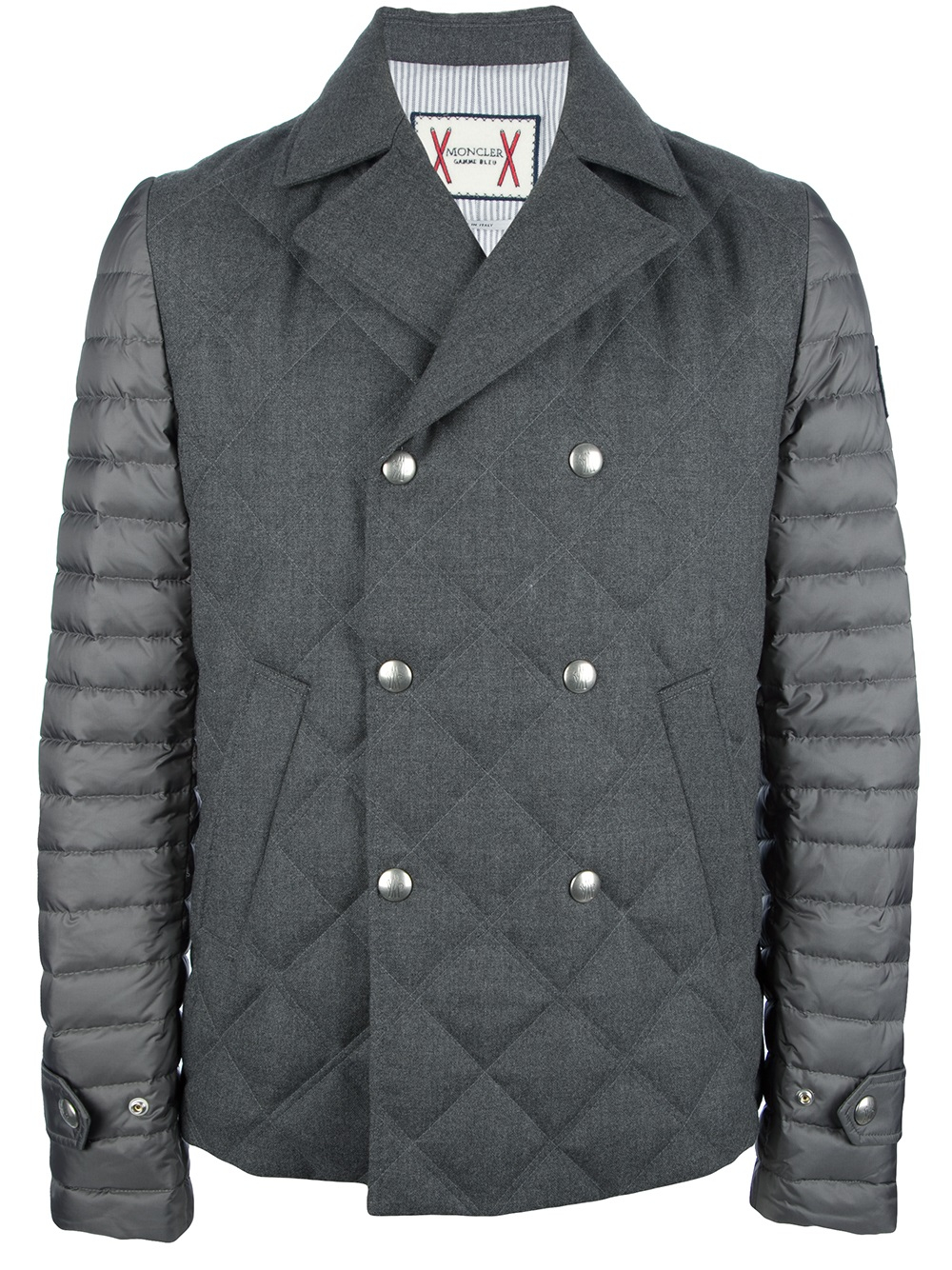 Moncler gamme bleu Quilted Pea Coat in Gray for Men | Lyst : quilted pea coat - Adamdwight.com