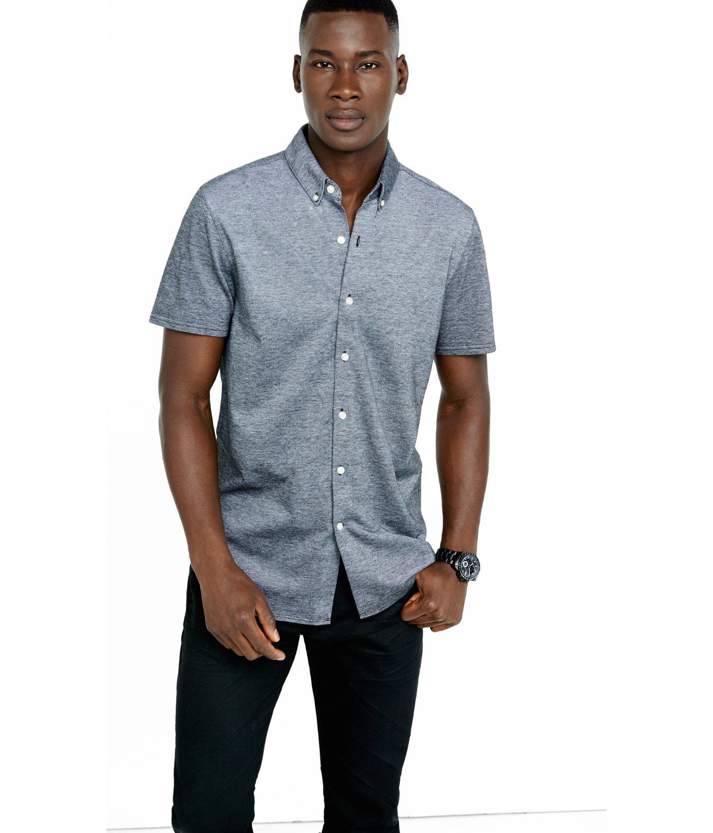 Lyst - Express Pique Knit Short Sleeve Button Down Collar Shirt in ...
