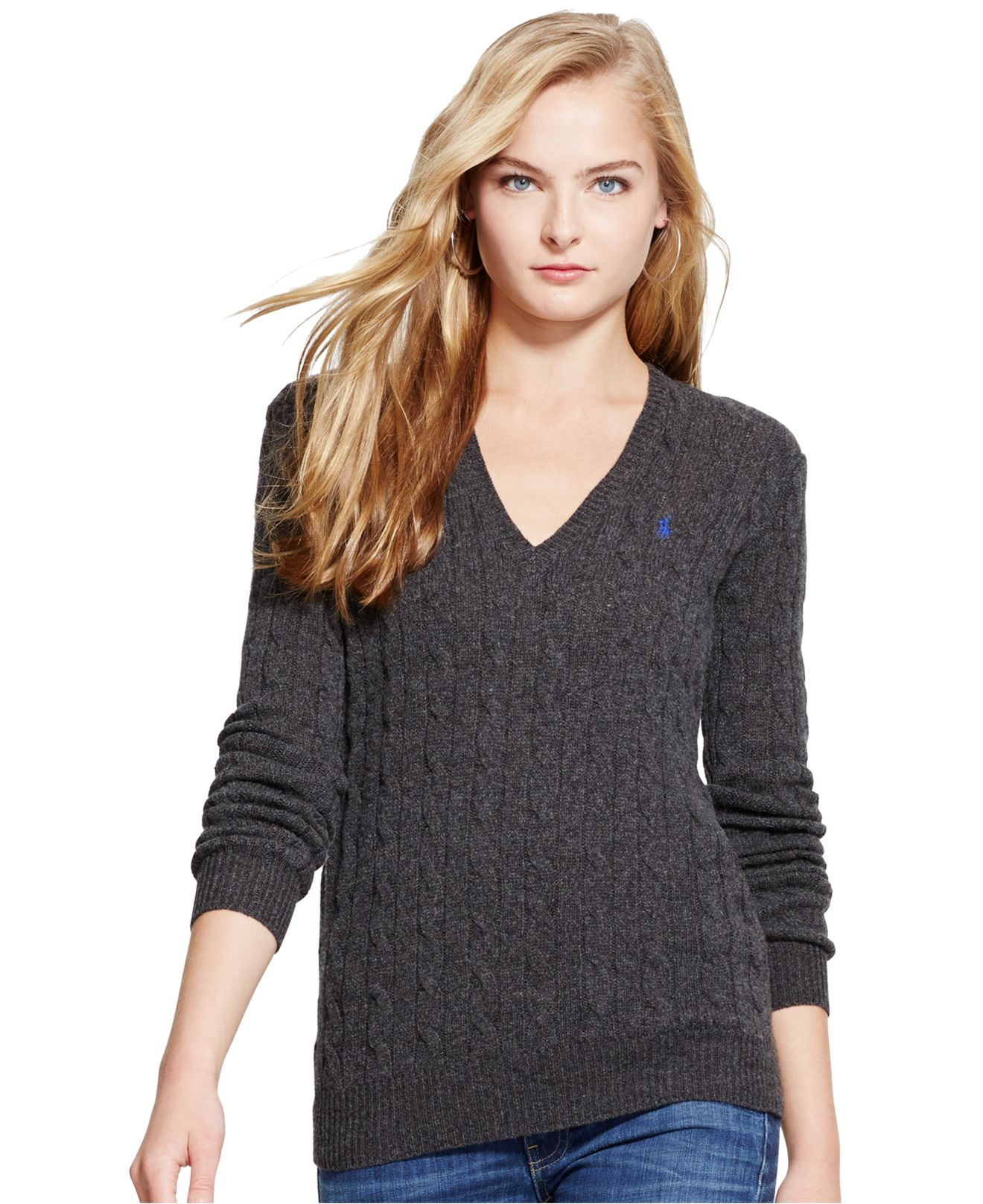 Polo ralph lauren V-neck Cable-knit Wool-cashmere Sweater in Gray ...